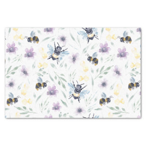 Watercolor Bee Pattern Tissue Paper