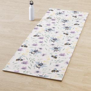 Watercolor Bee Pattern Yoga Mat