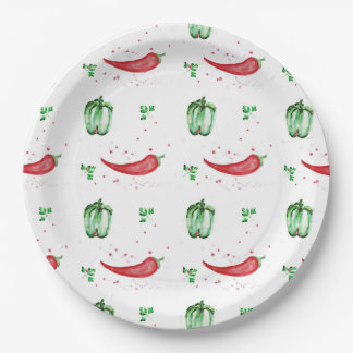 Watercolor bell and chilly peppers design paper plate