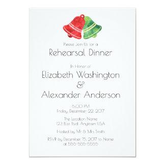 Watercolor Bell Christmas Wedding Rehearsal Dinner Card