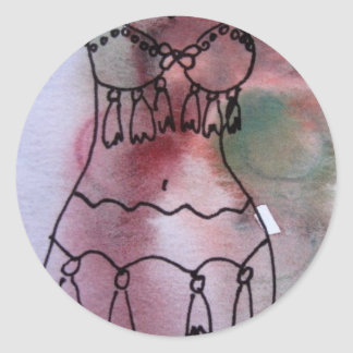 Watercolor Belly Dancer Classic Round Sticker