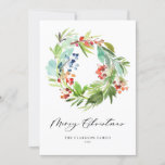 """Watercolor Berries and Greenery Wreath Christmas Holiday Card<br><div class=""""desc"""">Merry Christmas! Send holiday greetings and message to family and friends with this elegant holiday photo card. It features watecolor illustrations berries and greenery wreath. Personalize this flat card by adding names,  year and message. Choose between a wide array of paper types. Matching items are available.</div>"""