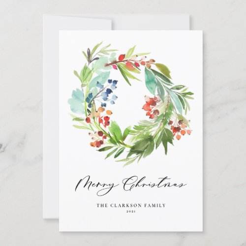 Watercolor Berries and Greenery Wreath Christmas Holiday Card