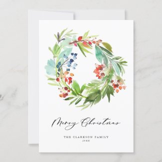 Watercolor Berries and Greenery Wreath Holiday Card