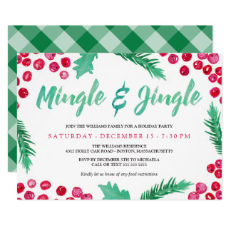 Watercolor Berries Mingle & Jingle Holiday Party Card