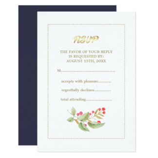 Watercolor Berry Branch design Wedding RSVP Cards