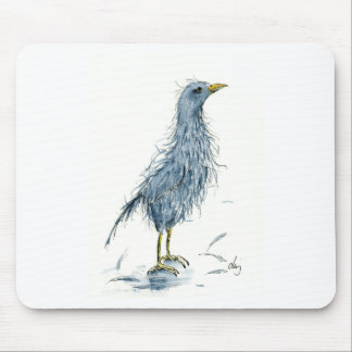 Watercolor bird bad hair day mouse pad