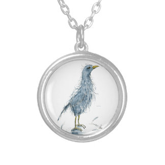 Watercolor bird bad hair day round pendant necklace