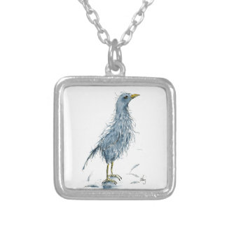 Watercolor bird bad hair day silver plated necklace