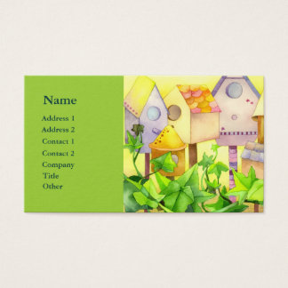 Watercolor Bird House Real Estate Agent Business C Business Card