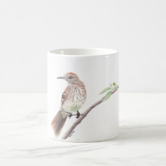 Watercolor bird mug: Brown Thrasher Coffee Mug