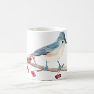 Watercolor bird mug: Tufted Titmouse Coffee Mug
