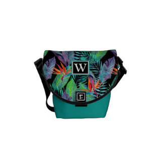Watercolor Bird Of Paradise   Add Your Initial Messenger Bag