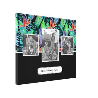 Watercolor Bird Of Paradise | Family Photos & Text Canvas Print
