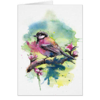 Watercolor bird two card
