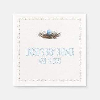 Watercolor Bird's Nest | Baby Boy Shower Paper Napkin