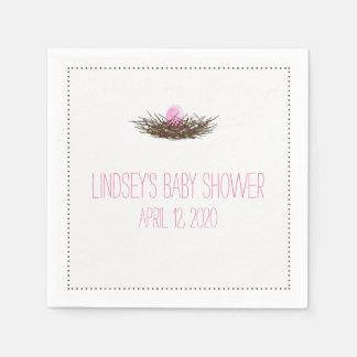 Watercolor Bird's Nest | Baby Girl Shower Paper Napkins