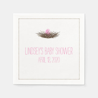 Watercolor Bird's Nest | Baby Girl Shower Standard Cocktail Napkin