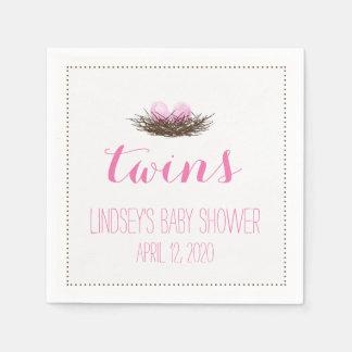 Watercolor Bird's Nest | Twin Baby Girls Shower Disposable Napkin