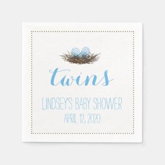 Watercolor Bird's Nest   Twis Baby Boys Shower Napkin