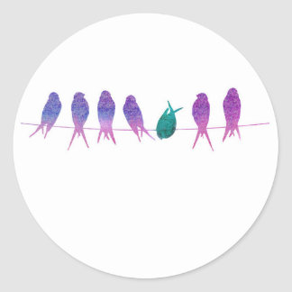 Watercolor Birds on a Line Classic Round Sticker