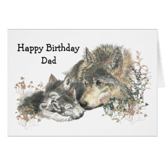 Watercolor Birthday Dad Wolf & Cubs Animal Art Card