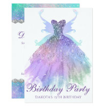 Watercolor Birthday Party Sparkle Gown Pixie Wing Card
