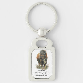 Watercolor Bison Buffalo Totem Spirit Guide Animal Silver-Colored Rectangular Metal Keychain