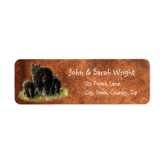 Watercolor Black Bear Family Animal Address Label