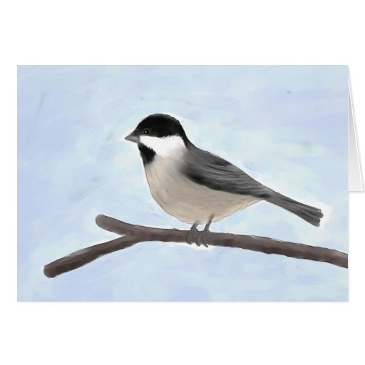 Watercolor Black-capped Chickadee Note Card