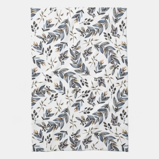 Watercolor Black Gray Tan Leaves and Berries | Towel