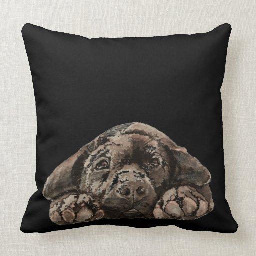 Watercolor Black Labrador Retriever Pet Dog Pillow Zazzle