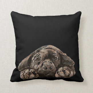 Watercolor Black Labrador Retriever Pet Dog Throw Pillow