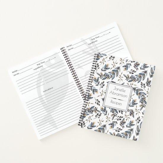 Watercolor Black Leaves Berries Monogram Recipe | Notebook