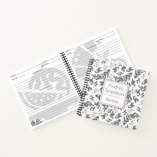 Watercolor Black Tan Leaves Recipe Book |