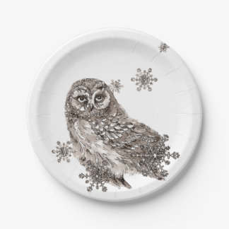 Watercolor Black & White Owl Bird Snowflakes Paper Plate