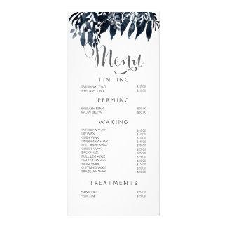 Watercolor Black White Stylist Menu Price List