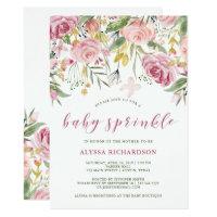 Watercolor Bloom Pink | Gold Floral Baby Sprinkle Card