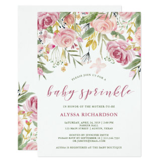 Watercolor Bloom Pink | Gold Floral Baby Sprinkle Card