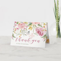 Watercolor Bloom Pink | Gold Floral Thank You