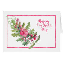 Watercolor Blooms and Buds Mother's Day Card
