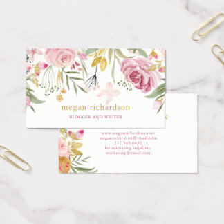 Watercolor Blooms | Pink and Gold Floral Business Card