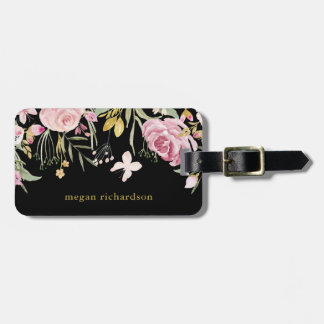 Watercolor Blooms | Pink and Gold Floral on Black Luggage Tag