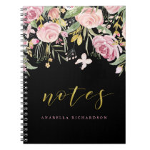 Watercolor Blooms | Pink and Gold Floral on Black Notebook