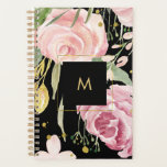 "Watercolor Blooms | Pink and Gold Floral on Black Planner<br><div class=""desc"">This beautiful,  dramatic planner features a blush pink and faux gold look floral design with plenty of trendy,  green botanical leaves on a black background. We have used art from LABFcreations.</div>"