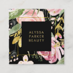 """Watercolor Blooms   Pink and Gold Floral on Black Square Business Card<br><div class=""""desc"""">These beautiful,  dramatic business cards feature a blush pink and faux gold look floral design with plenty of trendy,  green botanical leaves on a black background. We have used art from LABFcreations.</div>"""