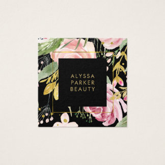 Watercolor Blooms | Pink and Gold Floral on Black Square Business Card