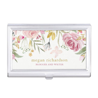 Watercolor Blooms | Pink and Gold Floral on White Case For Business Cards