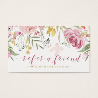 Watercolor Blooms | Pink and Gold Floral Referral Business Card