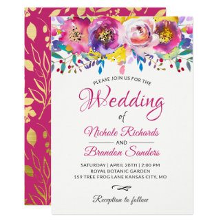 Watercolor Blossom Fuchsia Gold Floral Wedding Card